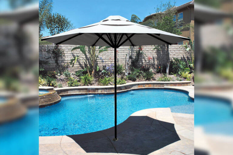 Wind Rated Umbrella By Pool